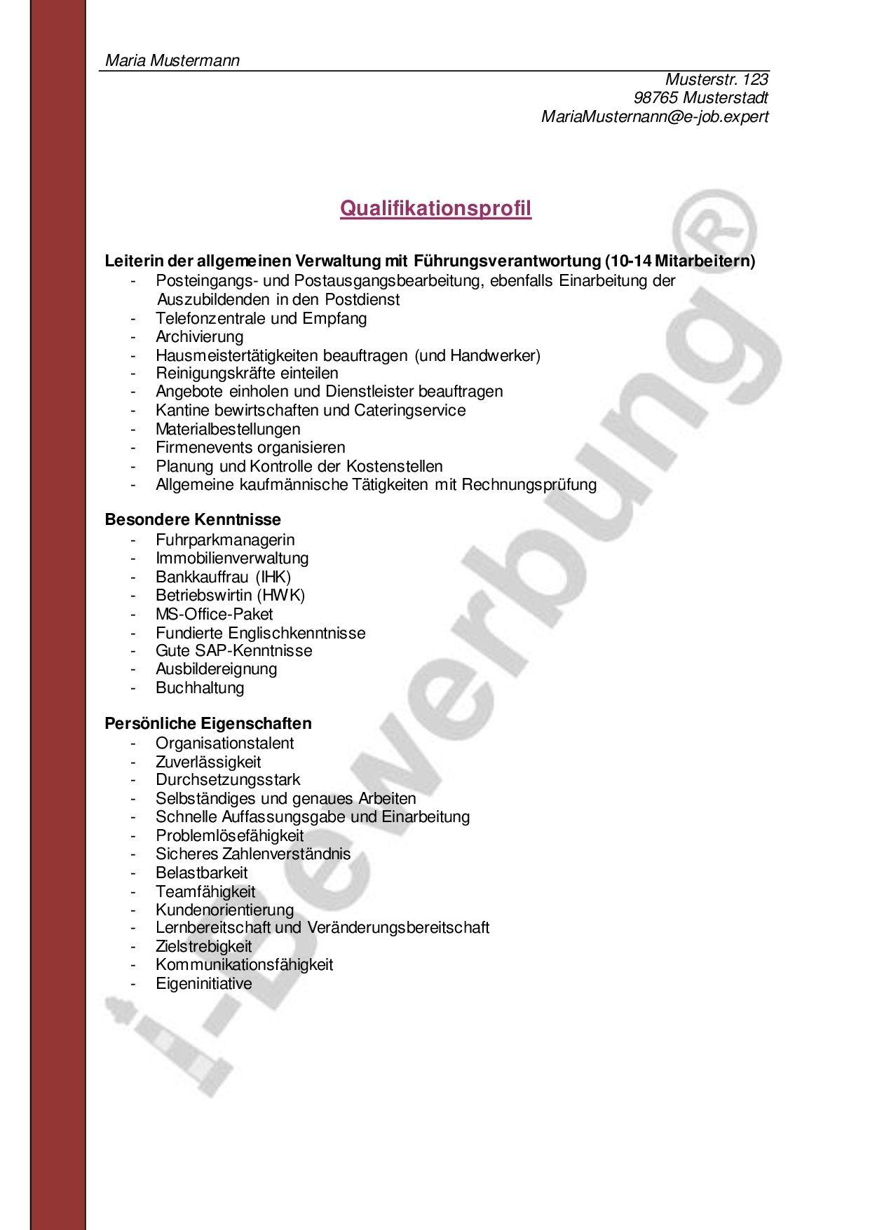 Muster Eines Qualifikationsprofils Zur Initiativbewerbung Vorlagen Lebenslauf Lebenslauf Bewerbung