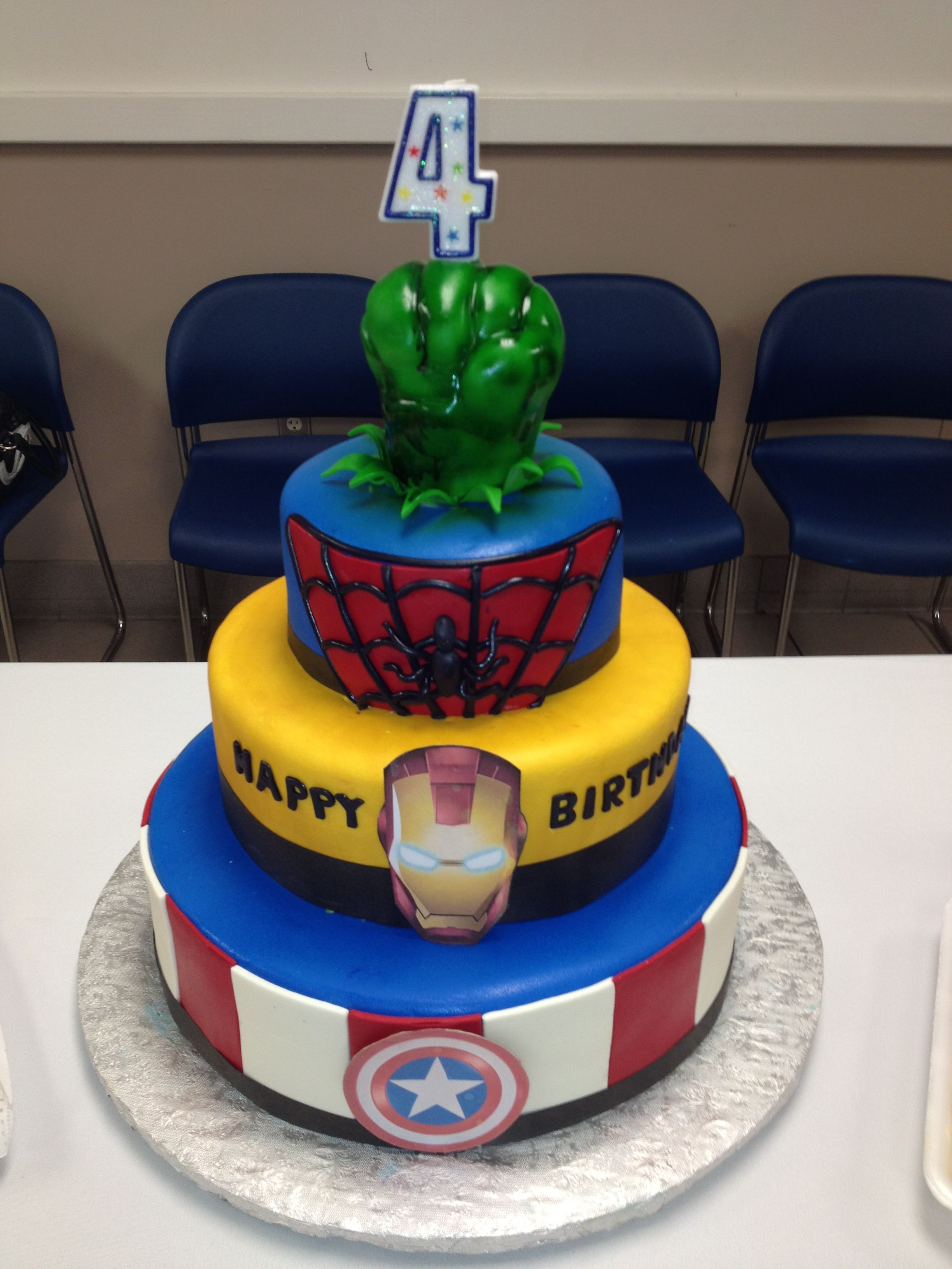 Hulk Spiderman Iron Man Captain America cake for my sons 4th