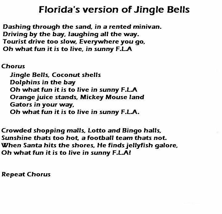 Florida Version Of Jingle Bells Parody Songs Funny Words Jingle Bells