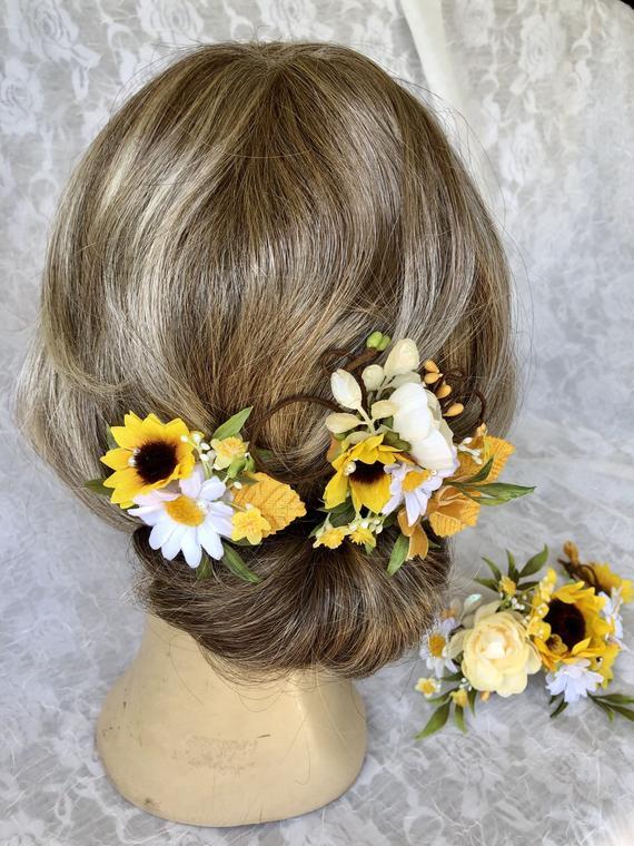 Sunflower Hair Clip Bridesmaid Hair Pieces Daisy And Sunflower