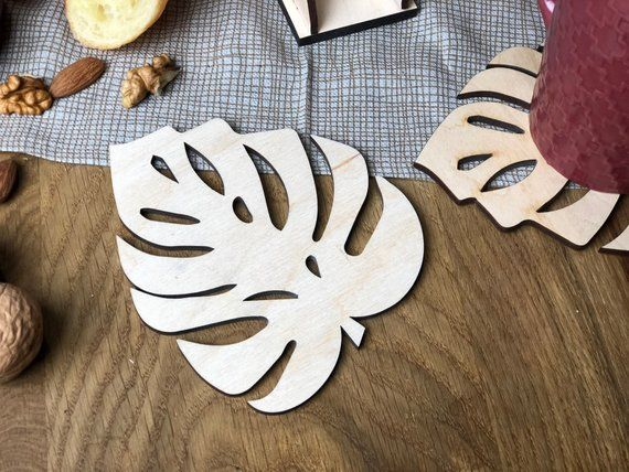Monstera Leaf Coasters Set With Holder Of 4 Or 6 Pcs Wood Plant