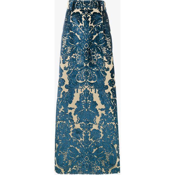 MIU MIU Long Velvet Printed Skirt ($4,020) ❤ liked on Polyvore ...