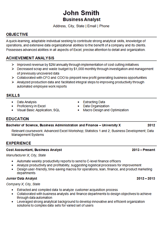 Resume Examples Data Analyst Business Analyst Resume Resume Summary Examples Business Analyst