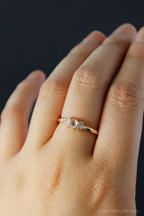 Rose Gold Art Deco Rose Cut Diamond Engagement Ring Vintage