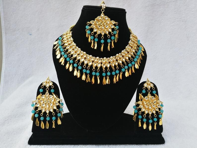 Finekraft INDIAN KUNDAN NECKLACE Bollywood Kundan Choker Necklace Set Latest Pearls Designer Kundan Necklace,Indian Jewelry,Bridal Jewelry