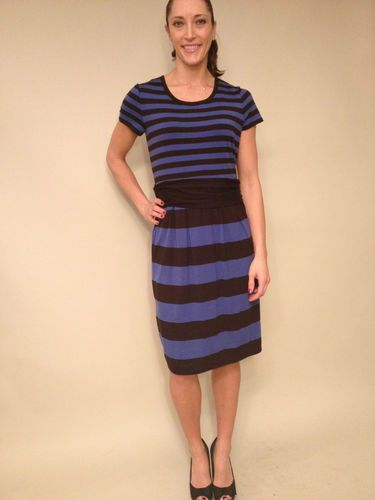 DKNY Short Sleeve Blue and Black Stripe Wear to Work Dress, size L. $89.99 www.darlingdiscounts.com