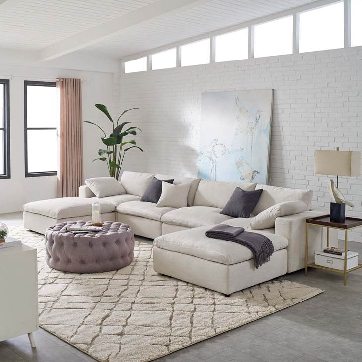 Piece Sectional Sofa Set In Beige