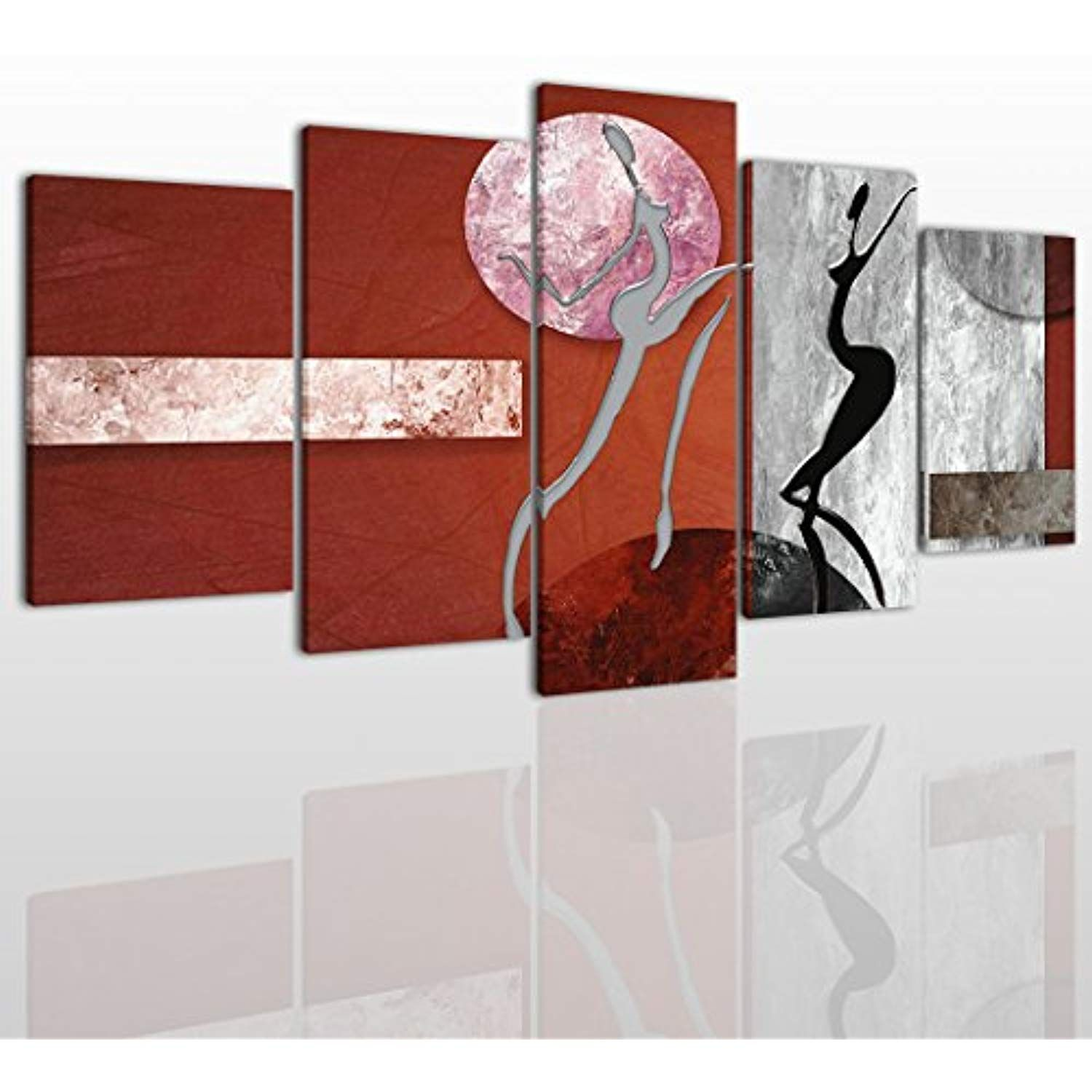Abstract black white and red canvas wall art painting modern design