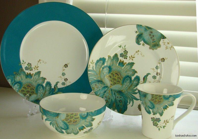 16 pc Set Eliza Teal 222 Fifth Dinnerware Dinner Salad Plates Mugs ...