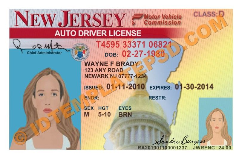 This Is New Jersey Usa State Drivers License Psd Photo Template On You Can Put Any Name Address No