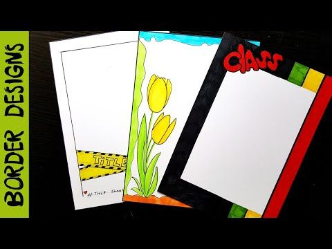 Flowers border designs on paper project work borders for projects youtube also ribbon draw rh pinterest