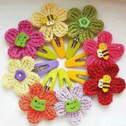 Resultado de imagen para flores en crochet para el cabello 556c1a45ac0