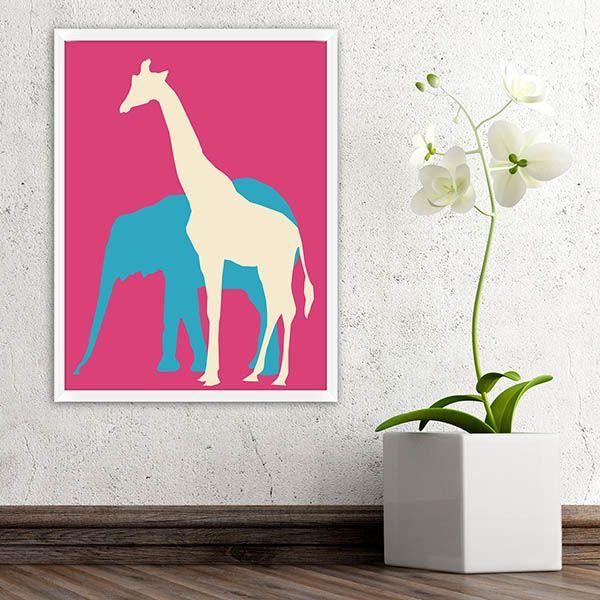 Lullaby Rocks Elephant and Giraffe Pink
