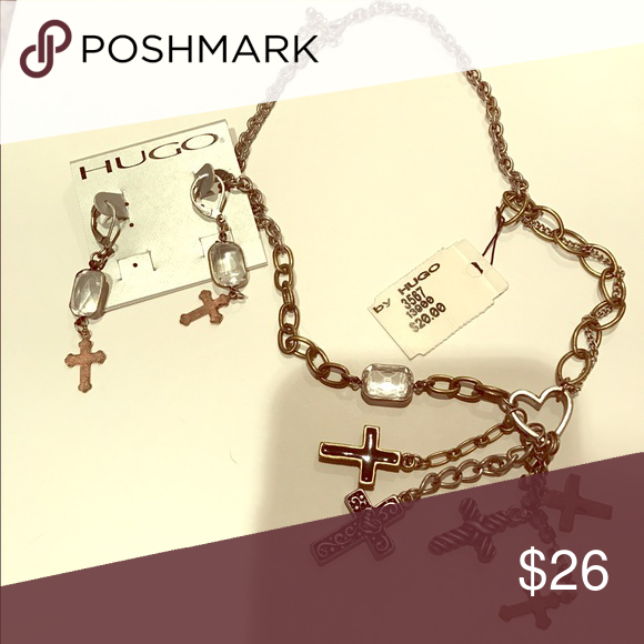 Hugo necklace and earrings Brand new cross necklace and matching earrings HUGO Jewelry Earrings