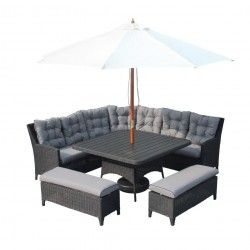 Huge Rattan Dining Set Corner Sofa Table 2x Benches Parasol Black Grey