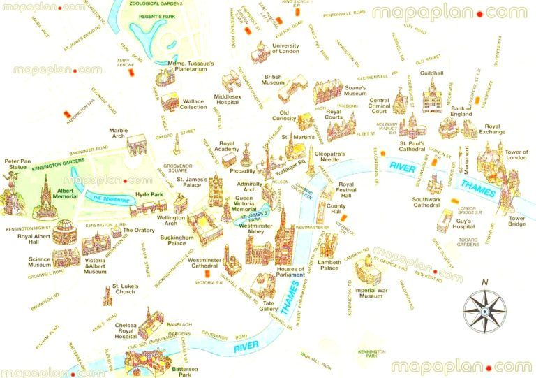 London Maps Top Tourist Attractions Free Printable City For Map Of Sightseeing X London Map London Tourist Tourist Attraction