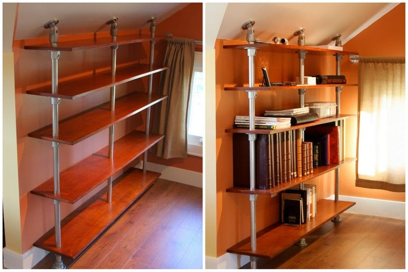 Pole Mounted Industrial Book Shelf FOR ATTIC ROOM WITH SLOPING - Diy build industrial hanging shelf