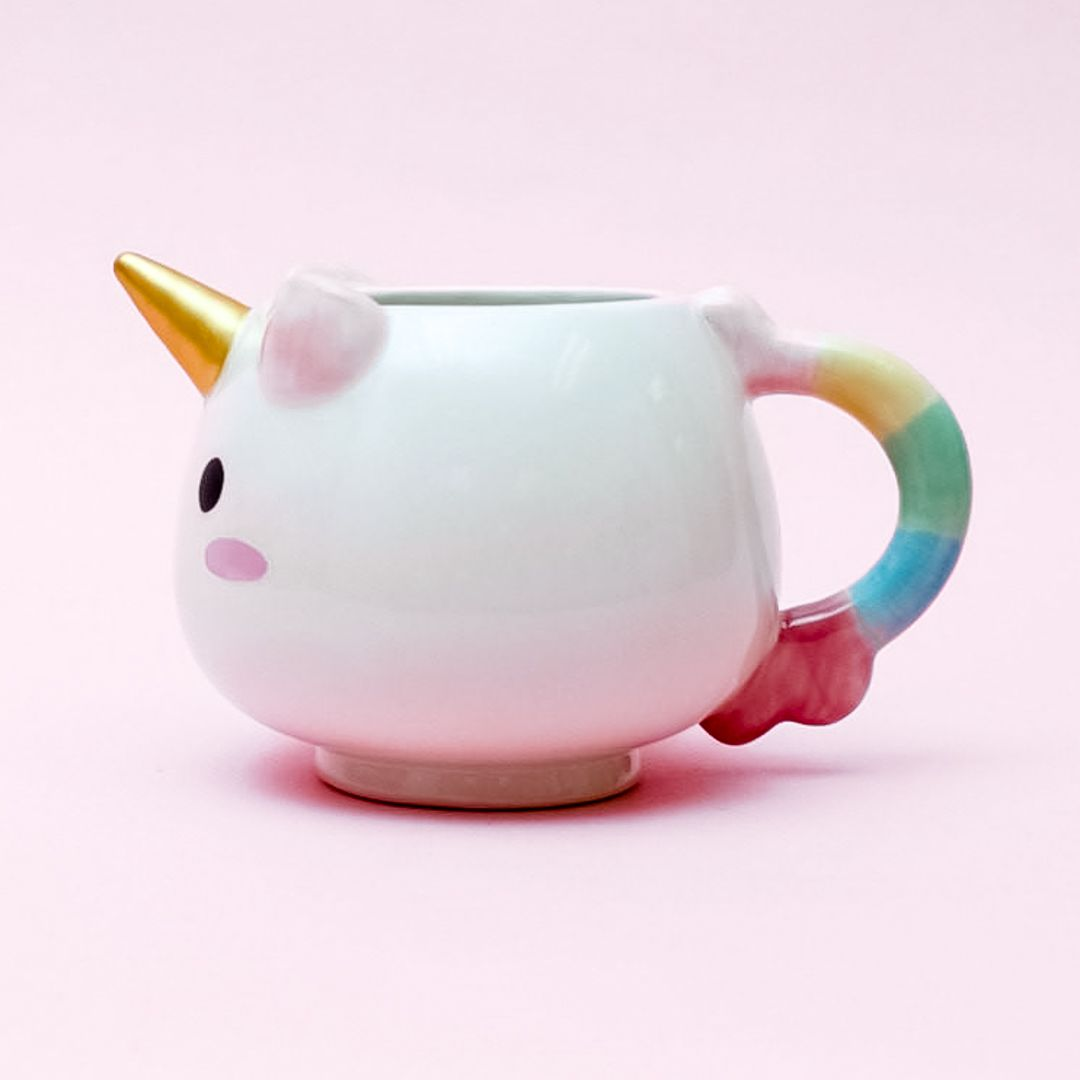 Dream Big Rainbow Unicorn Mug - Mugs, Unicorn, Cute mugs, Rainbow unicorn, Unicorns and mermaids, Unicorn party - Sip your favourite drink in the dreamy unicorn mug when you are in need of a pickmeup, which is also perfect as a mini succulent pot;  	Pastelcoloured handle and glistening gold horn;  	Made of ceramics;  	Dimensions  14 (Dia ) x  8 5 (H) cm, 300ml;  	Microwavesafe;  	Handwash only;  	This product is handpainted; slight imperfections in the item are inherent to handcrafted items and should be viewed as part of its natural beauty
