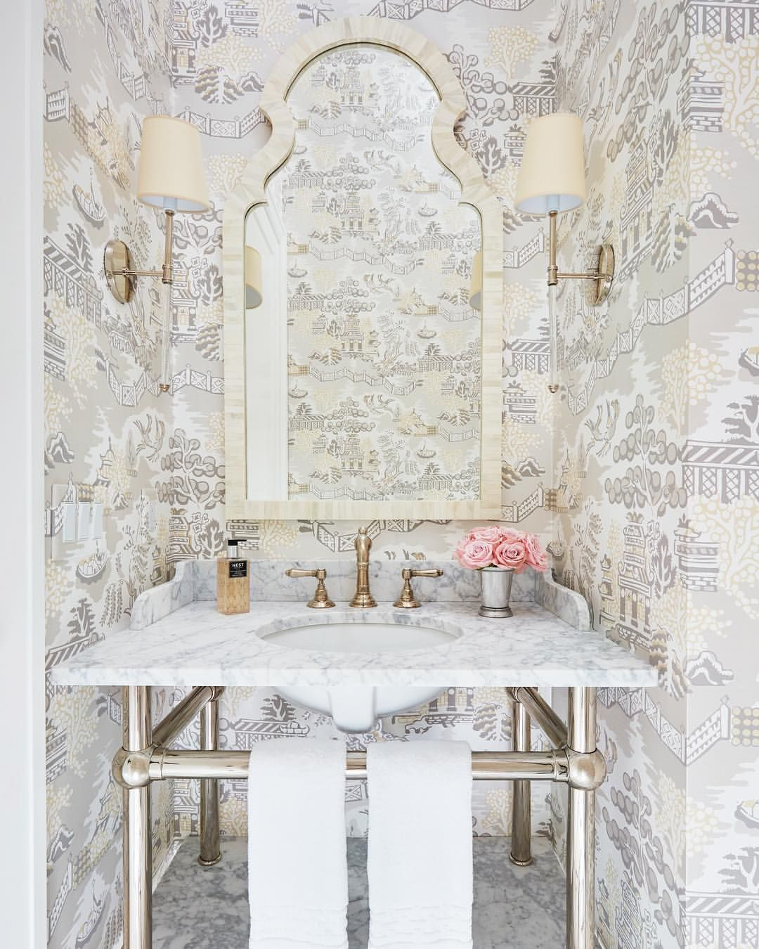 We Kept It Pretty In The Powder Room Thibaut Wallpaper In
