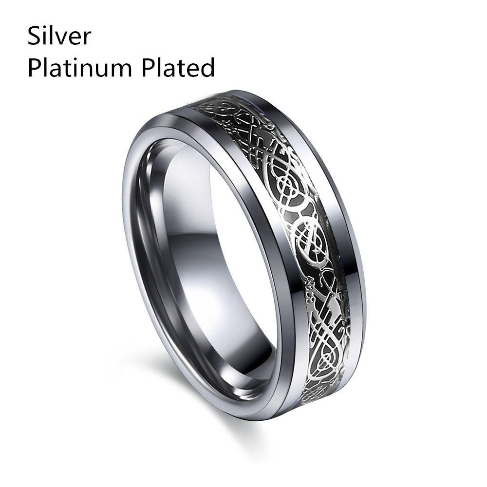 Vintage Engagement Dragon Tungsten Steel Ring For Men Women Lord Wedding Rings Band New Punk