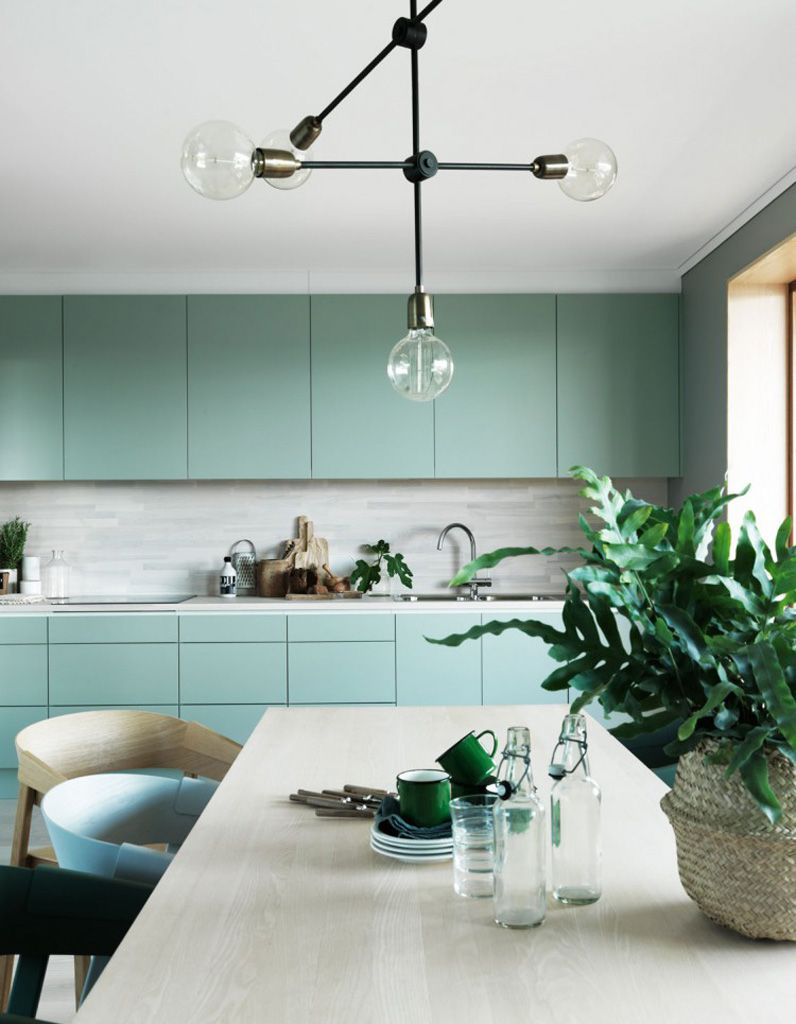 Cuisine vert d\'eau | interiors | Pinterest | Mid century design, Mid ...