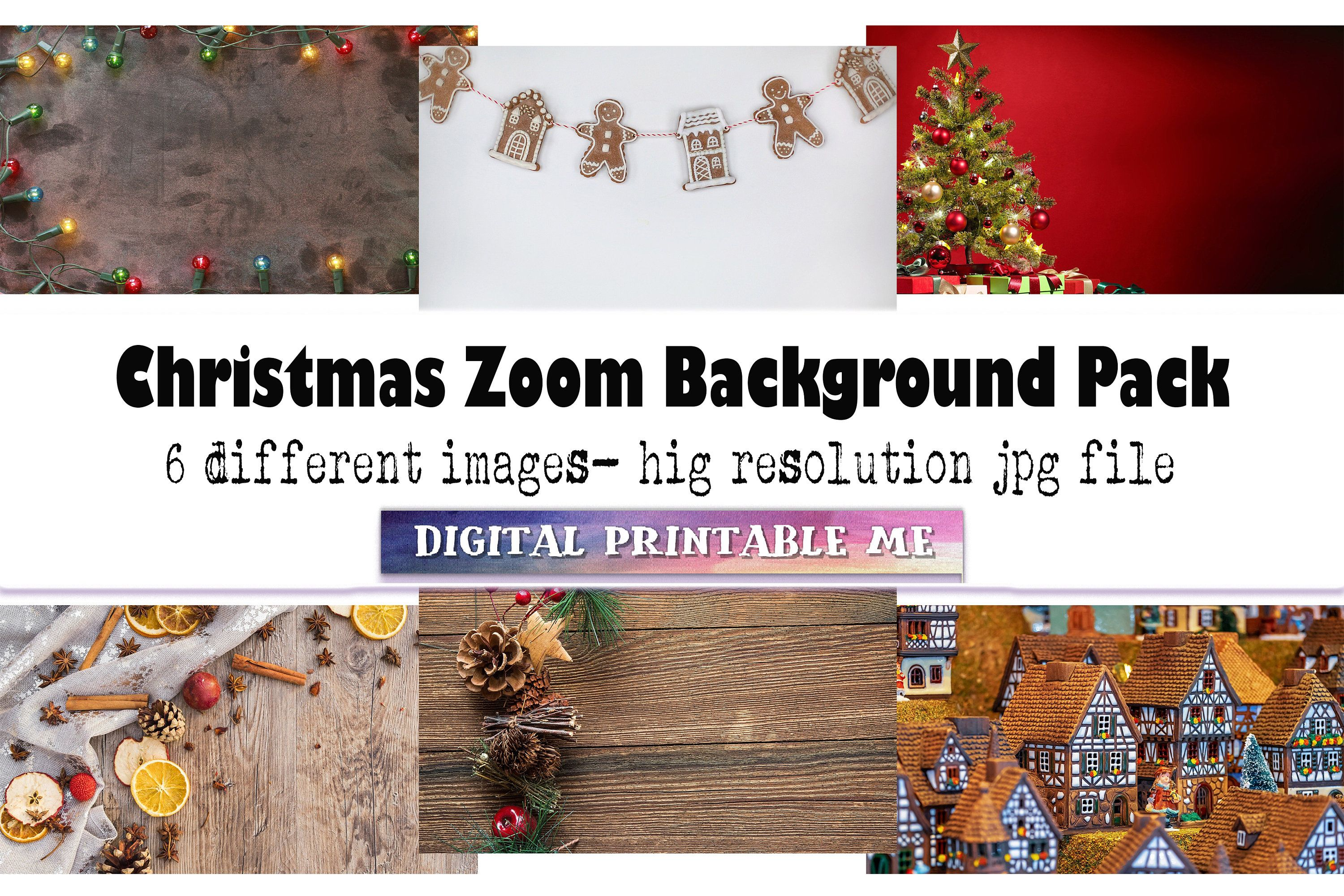Christmas Zoom Background 6 Digital Download Gingerbread Etsy Festive Winter Xmas Lights Holiday Tree