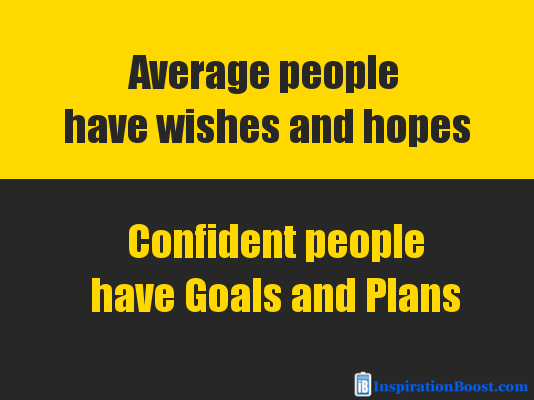 confident people have goals and plans quote inspiration