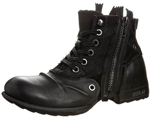 6952cd07856263 Replay Clutch Black Mens Side Zip Mid Ankle Leather Army ... https:/