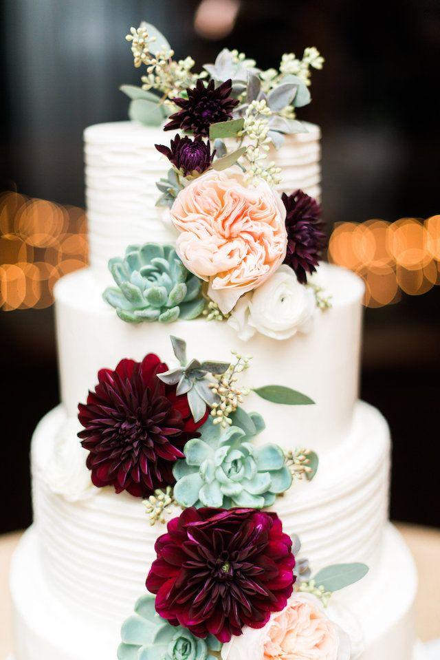 Burgundy And Green Classic Wedding Wedding Cake Peonies Succulent Wedding Cakes Burgundy Wedding Cake
