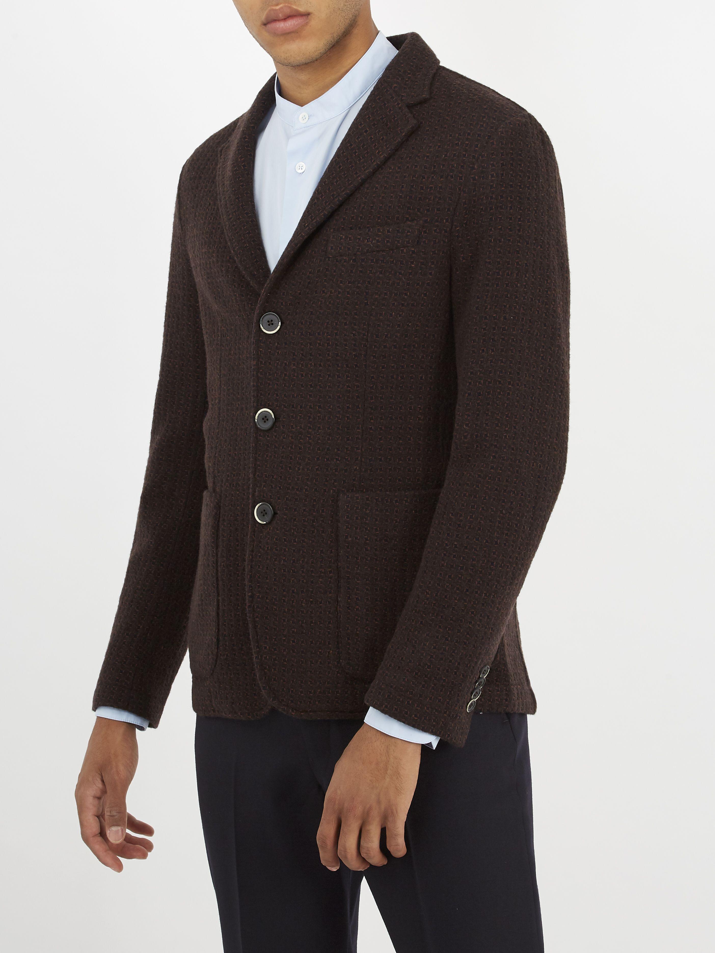 Barena Mens Wool-Blend Jacquard Two-Button Jacket Shop For Cheap Online IXQNshVtHB