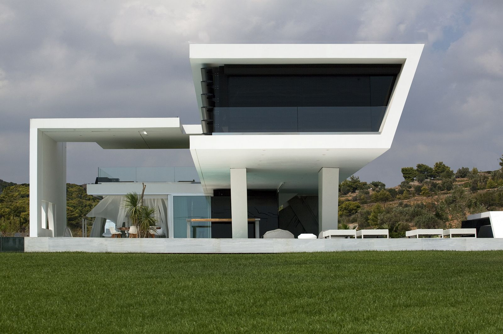 Front Facade Of An Impressive Ultra Modern House In Athens