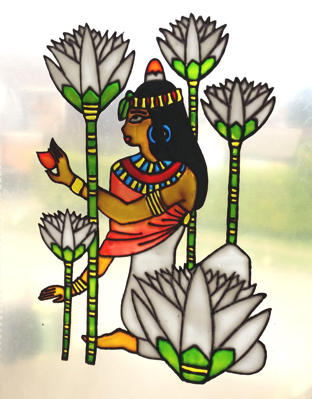 Ancient Egypt Lady Lotusflower Stainedglass Window My