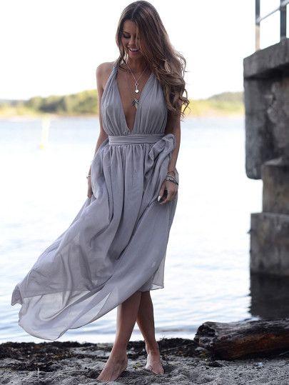 Plunging V-Neckline Maxi Dress