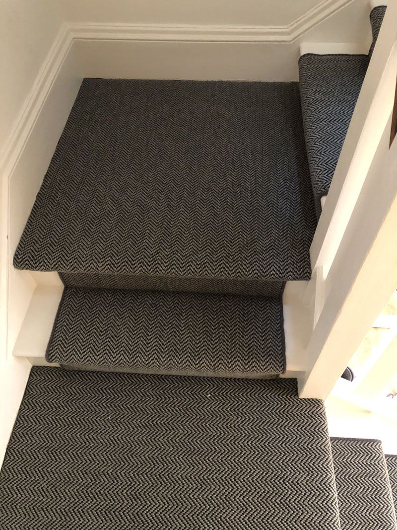 Best Dark Grey Sisal Herringbone Carpet Fitted In Holloway 400 x 300