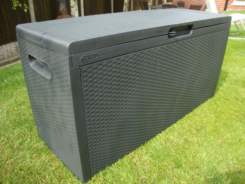 Details about Keter Capri Plastic Rattan Garden Storage Box Anthracite or  Brown Waterproof. Details about Keter Capri Plastic Rattan Garden Storage Box