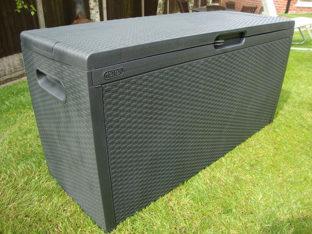 Keter Plastic Rattan Garden Storage Box Anthracite
