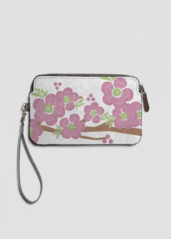 VIDA Leather Statement Clutch - heart cherries grey by VIDA