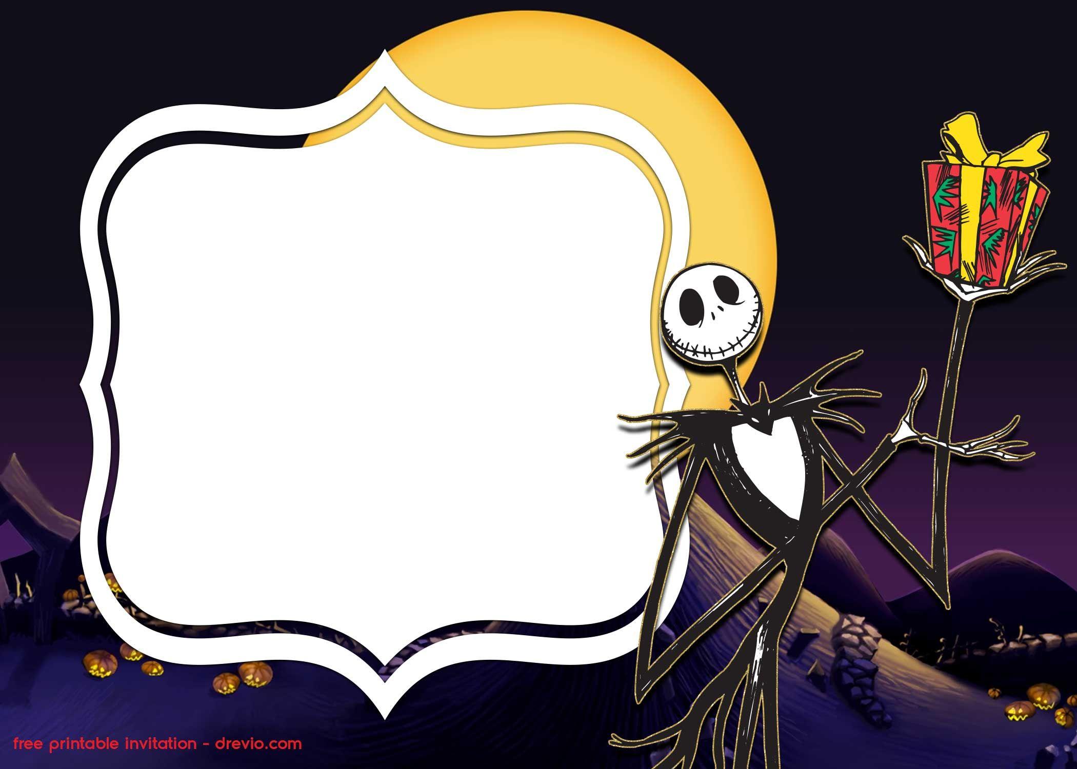 Free Printable Jack Skellington Invitation Templates Drevio Christmas Invitations Template Nightmare Before Christmas Christmas Invitations
