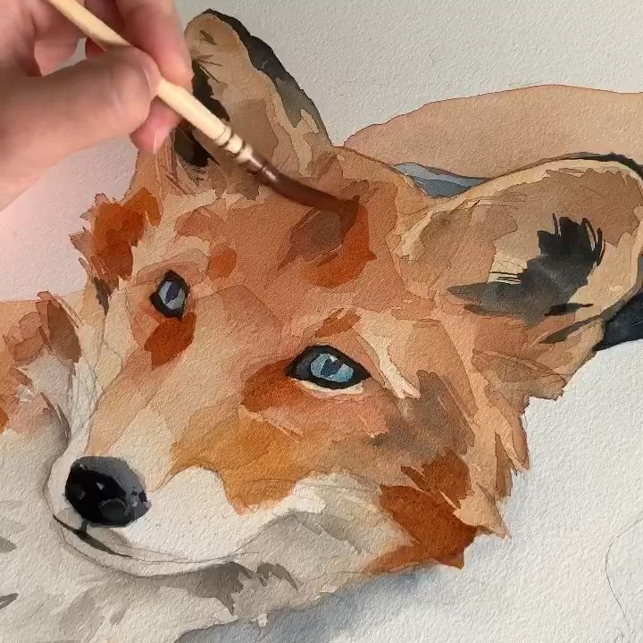 Fox 🦊 using Polina bright synthetic brush n. 2