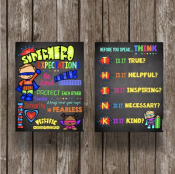 Superhero Expectations and Rules Posters - THINK
