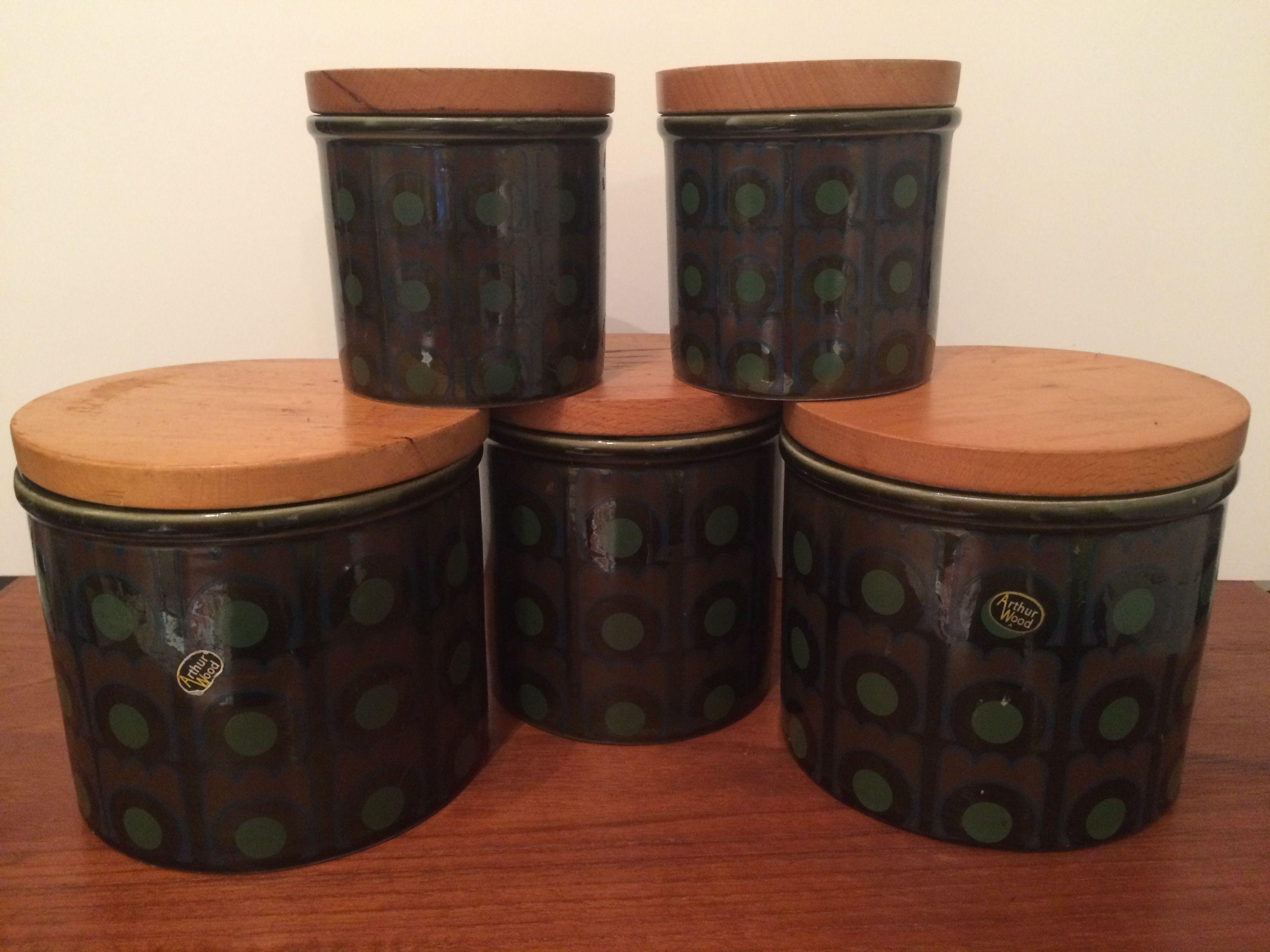 MCM Kitchen Cannister Set of 5 w Wood Lids Arthur Woods UK