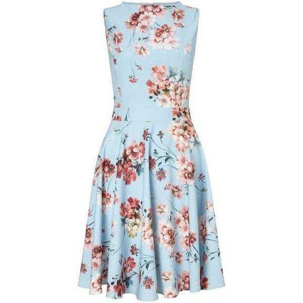 Floral Print Skater Dress ($80) ❤ liked on Polyvore featuring dresses, miss selfridge, blue skater dress, floral dresses, floral day dress and floral print skater dress