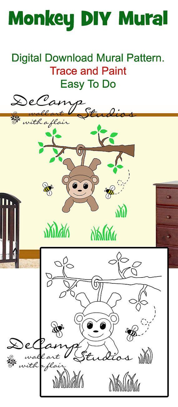 Digital download diy monkey wall art mural for baby boy nursery or digital download diy monkey wall art mural for baby boy nursery or kids room decor solutioingenieria Gallery