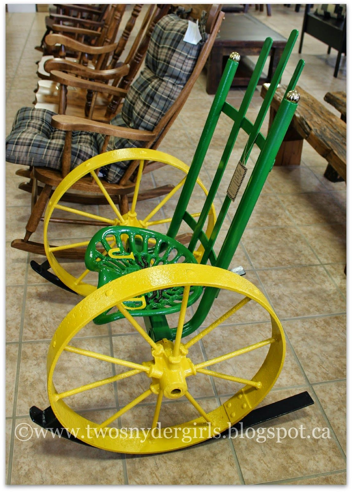 John deer chair re scape furniture mixed materials for Tractor art projects