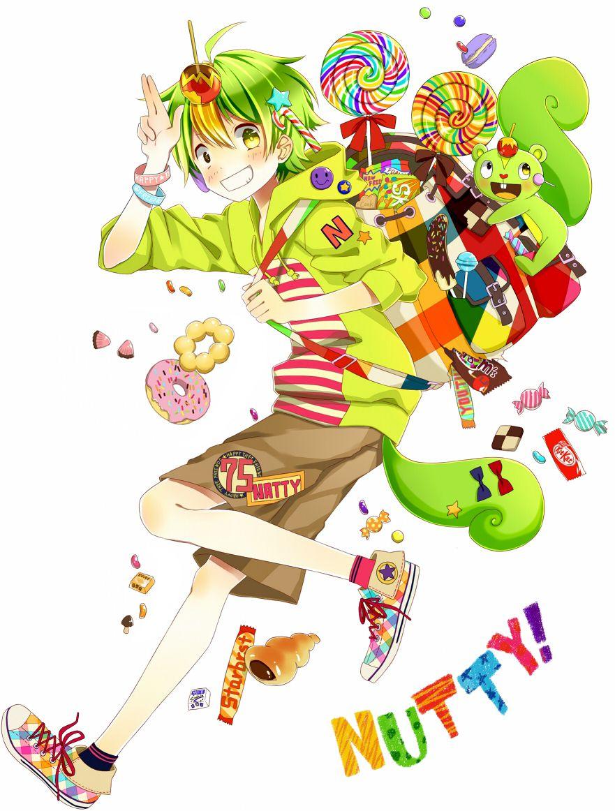 Anime Heterochromia Odd Eyes Black Yellow Nutty Happy Tree