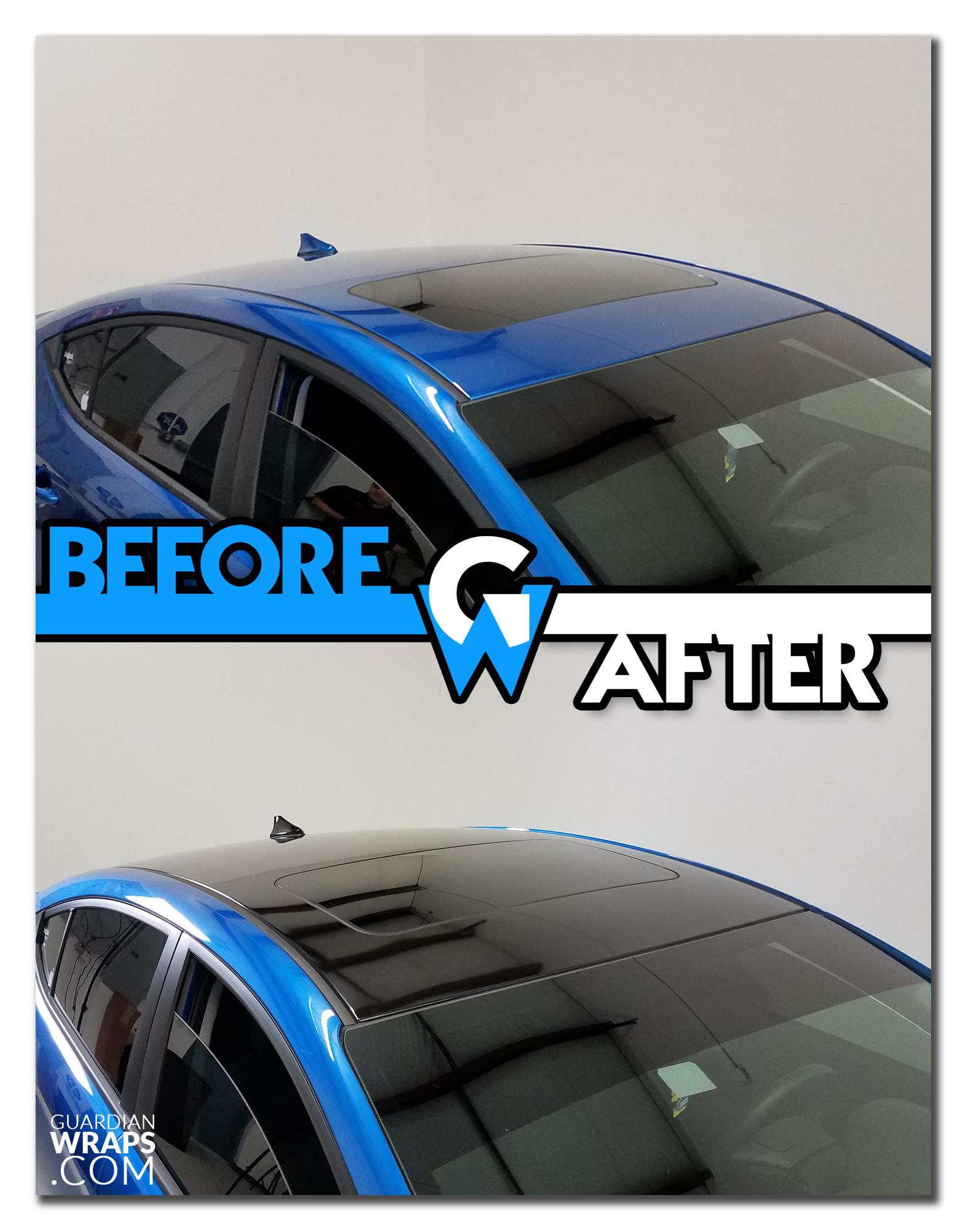 2017 Hyundai Elantra Gloss Black Roof Vinyl Wrap Before After