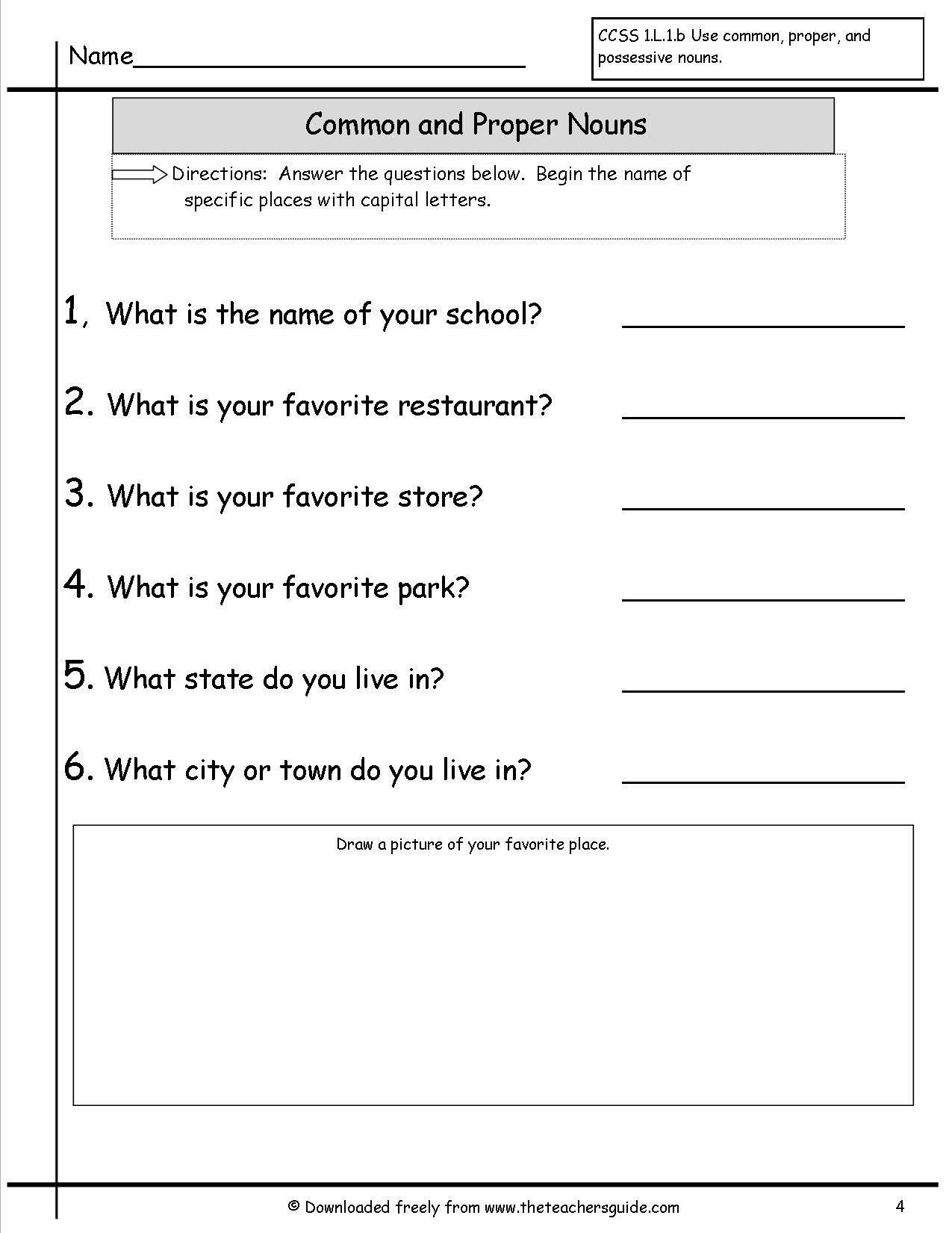 Second Grade Worksheet On Common And Proper Nouns