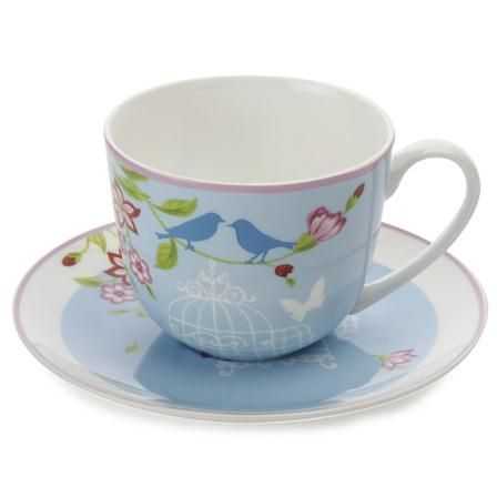 Maxwell  Williams Cashmere Aviary Cup  Saucer, Blue