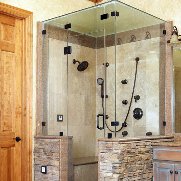 Shower Design Ideas shower with dark ceramic tile Tile Shower Stall Design Ideas Outside The Shower