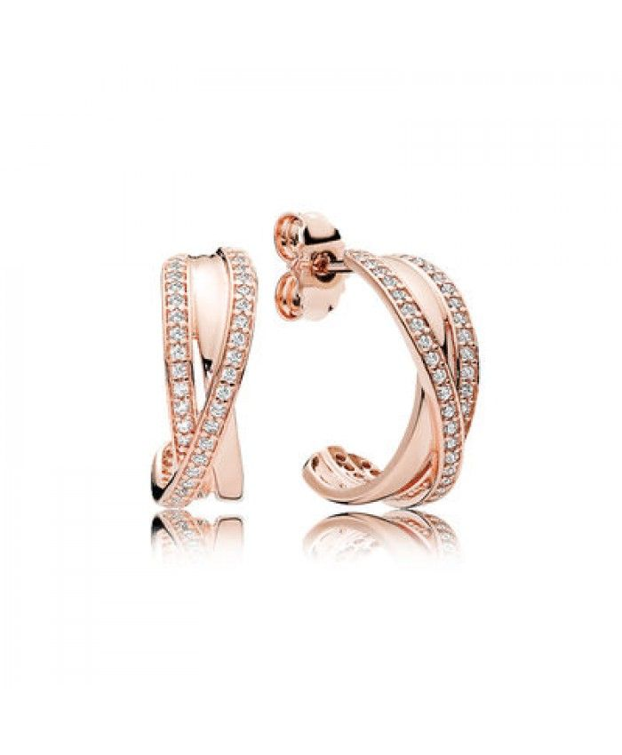 bb4f19401 Genuine Pandora Rose Gold Entwined Earring Hoops | Earrings ...
